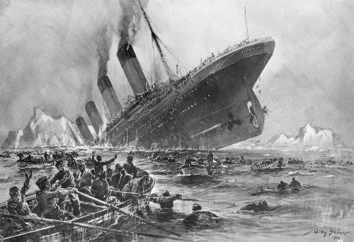 1932 --- Sinking of the Titanic by Willy Stoewer --- Image by © Bettmann/CORBIS